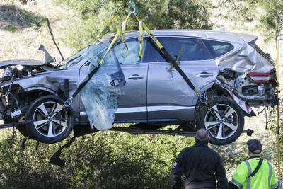 Photos: Tiger Woods seriously injured in single-vehicle crash